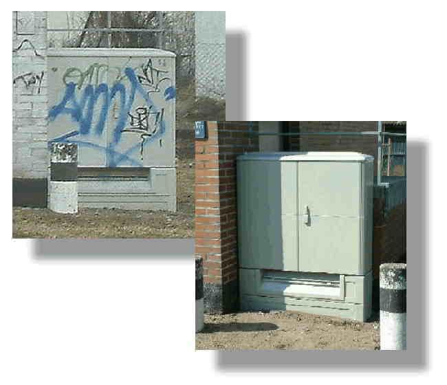 Graffiti auf Verteilerkästen, Garagentoren usw.